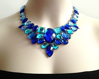 Sapphire blue and aquamarine statement necklace, bridal necklace, prom, wedding necklace