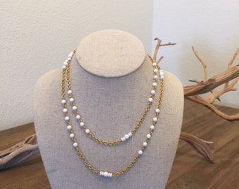 Monet Necklace, White and gold