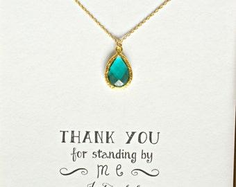 Green Necklace Gold, Green Emerald Bridesmaid Necklace, Green Bridesmaid Jewelry Gift, Bridal Party Gifts, Green Emerald Necklace, NK1