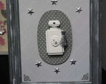Frame with the perfume bottle plasters perfumed grey