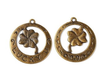 5 Large Good Luck Token Charms/Pendants Bronze Tone CP163