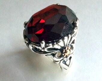 Cocktail Ring, silver ring, silver gold ring, Garnet ring, statement ring, gemstone ring, boho ring, hippie ring - Precious love R2215X