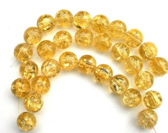 211 - Set of 10 14mm yellow Crackle glass beads