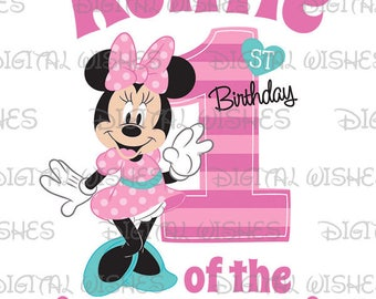 Minnie Mouse 1st Birthday stripes hearts Auntie of the Birthday Girl Digital Iron on transfer image clip art INSTANT DOWNLOAD DIY for Shirt
