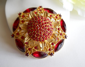 Red Rhinestone Brooch Pin Vintage
