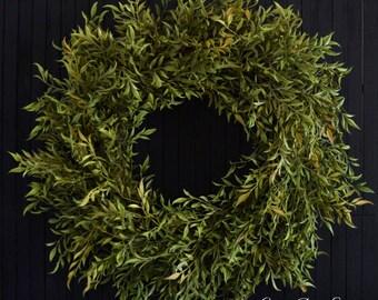 "Farmhouse Greenery Year Round Front Door Wreath - 26"" Diameter"