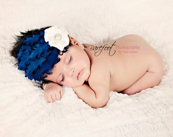 newborn feather headband, baby headband with feathers, blue headband