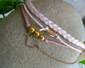 Bracelet four links pastel rose pattern