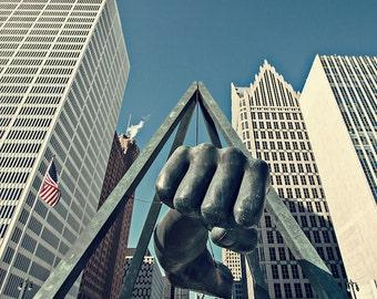 The Fist - Detroit Photography - Joe Louis Fist Cityscape - Detroit, Michigan