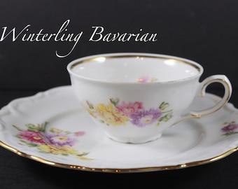 Floral Teacup Plate Vintage Bavarian Winterling Floral Mum Mother Tea Time BR