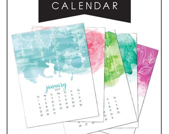 Calendar, Wall Calendar, Desk Calendar, Watercolor Rabbit Calendar, Printable Calendar, Year Calendar, watercolor calendar, calendar