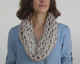 Large Cowl Scarf / Mushroom / Arm Knitted