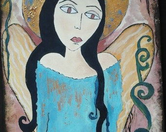 Sad angel, folk art