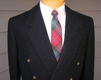 vintage FIORAVANTI c. 1977 Men's Double Breasted Blazer. Bespoke - Custom Made - Hand Tailored. Black Flannel. Size 43. Outstanding