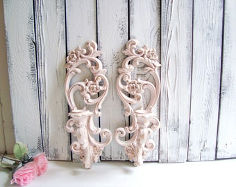 Vintage Blush Pink Ornate Sconces, Pink Nursery Candle Holders, Ornate Baby Pink and Gold Candlestick Holders, Wall Sconces, Shabby Chic