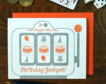 SALE 50% OFF letterpress birthday slot machine greeting card silver orange birthday icons: baloons presents party hat cake birthday jackpot!