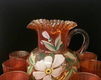 Fenton Hand Painted Carnival Glass Pitcher and Tumblers