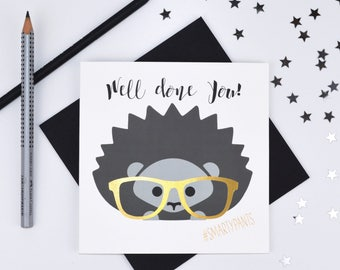 Cute Hedgehog #Smarty Pants Foiled Well Done Card