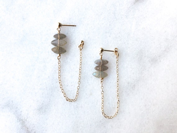 Labradorite Drop Chain Earring // Oxidized Sterling Silver, 14k Gold or Rose Gold Filled