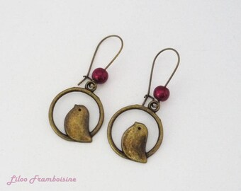 Earrings sleepers bronze bird and Pearl Burgundy