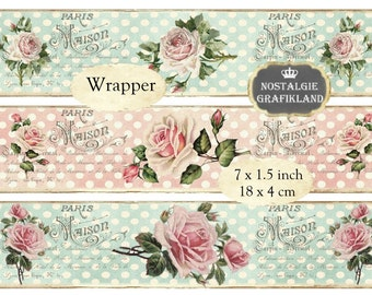 Soap Packaging Wrapper Polka Dots Roses Strips Shabby Chic Flowers Instant Download digital collage sheet E107