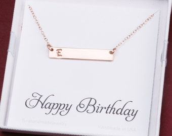 bar Initial necklace with birthday card,custom font monogram jewelry,Personalized name plate necklace,Contemporary Bridesmaid jewelry