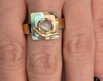 Two Toned Signed Poly Ring Modernist