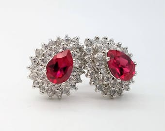 Vintage Sterling Silver & Lab Ruby Clip On Earrings