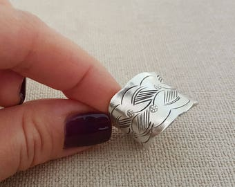 Handcrafted Boho Style Wide Band 100 % Pure  Silver Floral Ring, Handmade Silver Cuff Ring (RING0001)