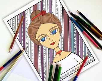 Adult Coloring Pages, Coloring pages for adults, Coloring Pages, Beautiful Girls, Coloring sheets, Printable gift ideas, Gift for her