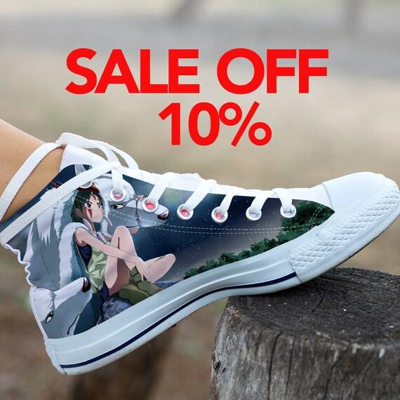 Mononoke Princess Ghibli Converse Studio Mononoke Custom Anime Custom Top Custom Mononoke Converse High Princess Shoes Sneaker Shoes rrd1AqKy