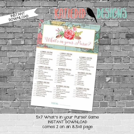 Adventure Awaits gender reveal party game What's in your purse baby shower Travel Theme neutral world map boho tribal floral   370 Katiedid