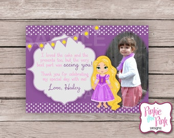 Personalized Rapunzel Birthday Party Thank you card- Tangled Digital File Download- Baby Shower, Wedding, Bridal