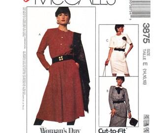 80s Dress Pattern McCalls 3875 Buttoned Shirt Dress Gored or Straight Skirt Womens Size 14 16 18 Sewing Pattern