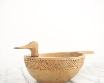 Hand Carved Wood Bird Bowl - Vintage Wooden Bowl - Carved Wood Bowl - Antique Wood Bowl