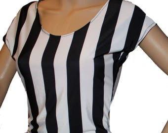 High Waisted Black and White Top, Spandex Shirt, Horizontal Stripes, Vertical Stripes