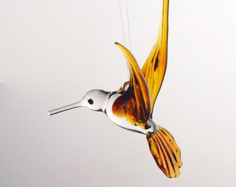 Large Hand Blown Glass Hummingbird