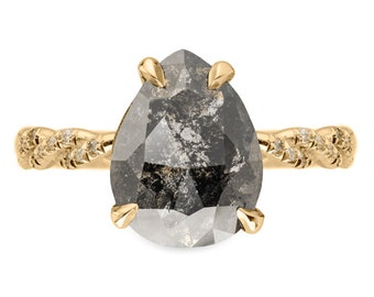 1.71 Carat Black Speckled Pear Diamond Engagement Ring, Heidi Setting, 14k Yellow Gold