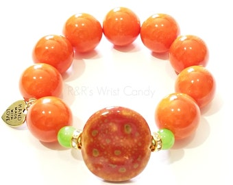 Orange Green Brown Chunky Beaded Bracelet, Stretchy, Boho, Women, Gifts, Custom Handmade Beaded Jewelry