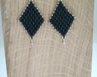 Black SUPERDUO diamond earring