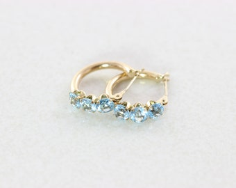 10k Yellow Gold Natural Blue Topaz Hoop Earrings