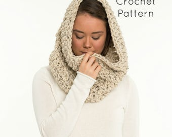 CROCHET PATTERN - Chunky Crochet Infinity Scarf / Cowl / Hood / Neck Warmer, Crocheted Beginner Easy DIY Project - The Willow Cowl