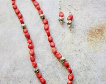 Coral and Pewter Necklace with Matching Earrings