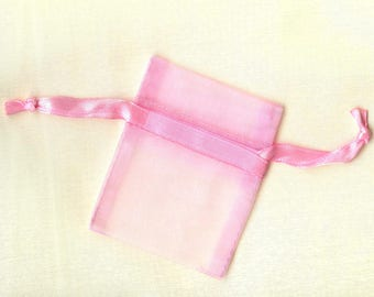 20x sachets organza ROSE CLAIR 5x6.3cm emballage cadeau anniversaire mariage noël fête qualité supérieure