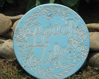 Beach Life -  Routed Wood Disk 3D Wall Decor - Color Options DSK18
