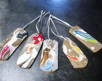 Mermaid Ornaments  Holiday Decor christmas beach house decor hand painted Mermaid art