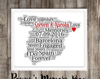 Spain Map Art, Spain Word Art, Spain Map Gift, Spanish Wedding, Spain Engagement, Spain Home Decor, Spain Print, Travel Print Spain