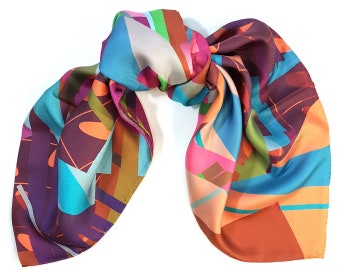 One-of-a-kind silk scarf No.49