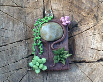 Clay Pendant with Stone and Succulents