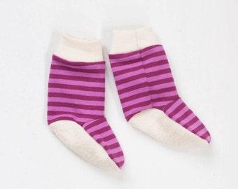 organic baby booties | double berry stripe